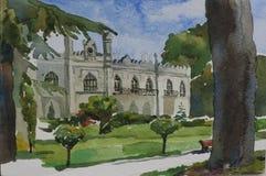 Palais du ` s de prince de Dadiani dans la ville de Zugdidi, pai original d'aquarelle illustration stock