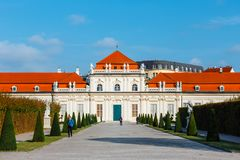 Palais et jardin de belvédère à Vienne images libres de droits