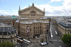 Palais Garnier, classical architecture, landmark, building, city. Palais Garnier is classical architecture, city and plaza. That marvel has landmark, metropolis stock image