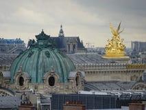 Palais Garnier Dome Rooftop View - Paris City. Palais Garnier Dome and Golden Statues rooftop skyline view. 9th arrondissement Boulevard Haussmann - Paris royalty free stock photography