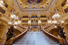 The Palais Garnier, Opera of Paris, interiors and details. PARIS, FRANCE, MARCH 14, 2017 : interiors, frescoes and architectural details of the palais Garnier Royalty Free Stock Photo