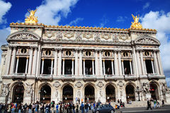The Palais Garnier in Paris. Paris, France - Sep 18, 2011: People queuing for tickets at the Palais Garnier opera house at Rue Scribe,  Place de L'opera Royalty Free Stock Photo