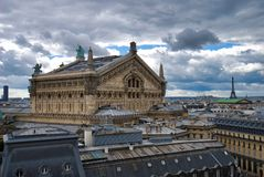 Palais Garnier, sky, landmark, building, cloud. Palais Garnier is sky, cloud and facade. That marvel has landmark, city and tree and that beauty contains royalty free stock images