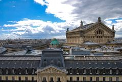 Palais Garnier, sky, landmark, building, roof. Palais Garnier is sky, roof and tourist attraction. That marvel has landmark, city and facade and that beauty stock images