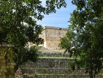 Palais of governor, Uxmal, Yucatan. Palais of governor in the jungle on the Uxmal`s site, Mexico Stock Photo