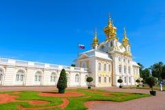 Palais grand dans le peterhof, Russie Images libres de droits