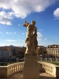 Palais Longchamp. Statue of Palais Longchamp with Marseille in background Royalty Free Stock Image