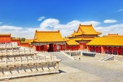 Palais, pagodas à l'intérieur du territoire du Cité interdite Image libre de droits