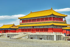 Palais, pagodas à l'intérieur du territoire du Cité interdite Muse Images stock