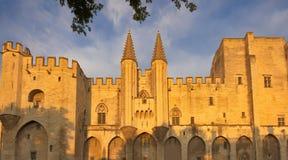Palais papal au coucher du soleil, Avignon, France photographie stock libre de droits
