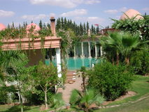 Palais Rhoul. This is the view of the back of the beautiful Palais Rhoul riad in the Palmerai of Marrakech in Morocco. Look at the other pictures to see the Stock Photos