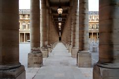 Palais Royale. Columns connecting two wings of the Tuileries Palace, near Louvre stock images