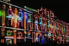 Palais Saint Pierre während des Festivals der Leuchten Lizenzfreies Stockbild