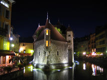 Palaise d'Isle in night, Annecy, France Royalty Free Stock Photography