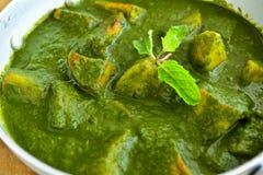 Palak indio del plato-Aloo fotos de archivo