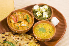 Palak Paneer, Dal with Paratha Royalty Free Stock Photography