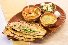 Palak Paneer, Dal with Paratha Royalty Free Stock Photo