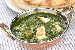 Palak paneer , spinach and cheese curry , indian f Royalty Free Stock Image
