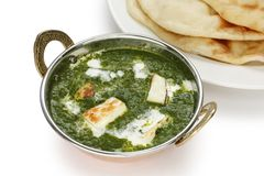Palak paneer , spinach and cheese curry , indian f Royalty Free Stock Photos