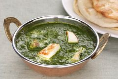 Palak paneer szpinak i serowy curry, hindus f zdjęcia royalty free
