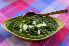 Palak Paneer tradycyjny goan indyjski jedzenie z szpinakiem zdjęcia stock