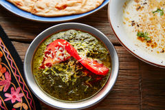 Palak Panner indian recipe food on wood Stock Photography