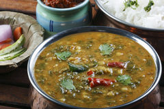 Palak tuvar dal is a spicy spinach and lentil preparation. Palak tuvar dal made of tuvvar dal cooked with spinach, fresh spices and tempering of ghee and spices Stock Photos