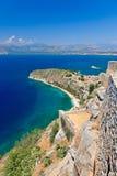 Palamidi城堡和Nafplion市 免版税库存照片