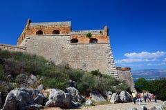 Palamidi城堡在Nafplion中心,伯罗奔尼撒半岛的希腊镇 免版税图库摄影