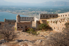 Palamidi castle. Walls of Palamidi castle, Nafplio city, Peloponnese, Greece stock photos