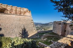 Palamidi castle on the hill above Nafplio city royalty free stock photo