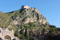 Palamidi castle on the hill above Nafplio city in Greece. Europe royalty free stock image
