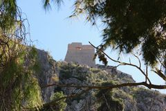 Palamidi castle on the hill above Nafplio city in Greece. Europe stock photo
