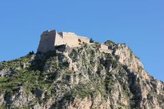 Palamidi castle on the hill above Nafplio city in Greece. Europe royalty free stock photography