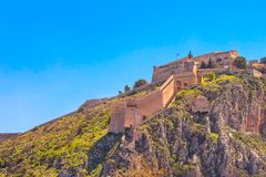 Palamidi castle on the hill, Nafplion, Greece. Palamidi fortress castle on hill top in Nafplio or Nafplion, Peloponnese, Greece royalty free stock photos