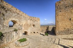 Palamidi castle in Nafplio, Greece. A view of Palamidi castle in Nafplio, the first capital of Greece. It was built by the venetians and later occupied by the royalty free stock photos