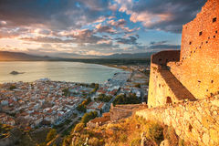 Palamidi Castle, Nafplio. Palamidi castle on a hill above the town of Nafplio, Peloponnese, Greece stock image