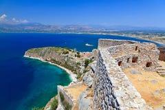 Palamidi castle in Nafplion. Palamidi castle and Nafplion city, Greece Royalty Free Stock Photo