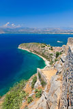 Palamidi castle and Nafplion city Royalty Free Stock Photo