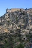 Palamidi fästning på kullen, Nafplion - Grekland Väggar och bastioner av den Palamidi fästningen, Nafplio, Peloponnese, Grekland  arkivfoto