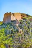 Palamidi castle on the hill, Nafplion, Greece. Palamidi fortress castle on hill top in Nafplio or Nafplion, Peloponnese, Greece stock photo
