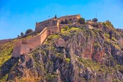 Palamidi castle on the hill, Nafplion, Greece. Palamidi fortress castle on hill top in Nafplio or Nafplion, Peloponnese, Greece royalty free stock photo