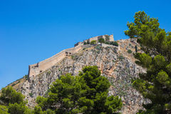 Palamidi fortress on the hill, Nafplion Stock Images