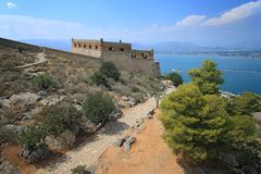 Palamidi Fortress in Nafplion, Greece. Palamidi Fortress in Nafplion, Argolis Peloponnese, Greece royalty free stock photography