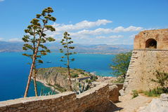 Palamidi, nafplio, greece. View of the coastal line from the fortress of nafplio, greece. this fortress was build by venitians around 18th century to control the stock image