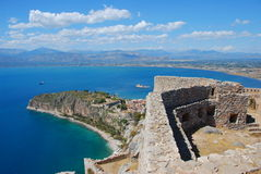 Palamidi, nafplio, greece. View of the coastal line from the fortress of nafplio, greece. this fortress was build by venitians around 18th century to control the royalty free stock photos