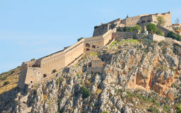 Palamidi , nafplio, greece. View of the the fortress of nafplio, greece. this fortress was build by venitians around 18th century to control the harbour stock photo