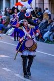 Palamos,西班牙- 2018年2月10日,传统狂欢节队伍在一个小镇Palamos,在卡塔龙尼亚,在西班牙 库存照片