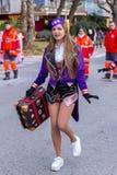 Palamos,西班牙- 2018年2月11日,传统狂欢节队伍在一个小镇Palamos,在卡塔龙尼亚,在西班牙 免版税库存照片