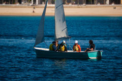 Palamos, Catalonia, may 2016: children learning to sail Stock Images
